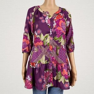 Skye's The Limit Floral Ruffled Peasant Shirt Top